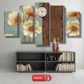 krem bej çiçekler-5 parçalı saatli kanvas tabloları ORTA BOY