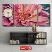 pembe yapraklı çiçek tablosu- saatli kanvas tablo MODEL 2 - 129x75 cm