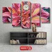 pembe yapraklı çiçek tablosu- saatli kanvas tablo MODEL 2 - 129x75 cm-2