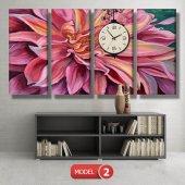 pembe yapraklı çiçek tablosu- saatli kanvas tablo MODEL 2 - 129x75 cm-3