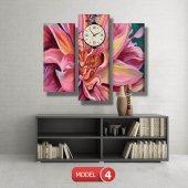 pembe yapraklı çiçek tablosu- saatli kanvas tablo MODEL 2 - 129x75 cm-4