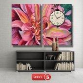 pembe yapraklı çiçek tablosu- saatli kanvas tablo MODEL 2 - 129x75 cm-5