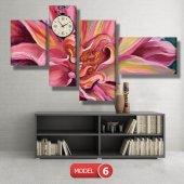 pembe yapraklı çiçek tablosu- saatli kanvas tablo MODEL 2 - 129x75 cm-6