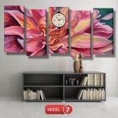 pembe yapraklı çiçek tablosu- saatli kanvas tablo MODEL 2 - 129x75 cm-7