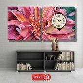 pembe yapraklı çiçek tablosu- saatli kanvas tablo MODEL 2 - 129x75 cm-8