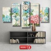 pembe-mavi çiçekli tablolar- saatli kanvas tablo MODEL 3 - 126x60 cm-2