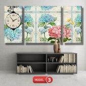 pembe-mavi çiçekli tablolar- saatli kanvas tablo MODEL 3 - 126x60 cm-3