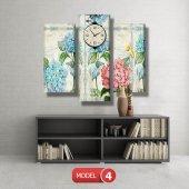 pembe-mavi çiçekli tablolar- saatli kanvas tablo MODEL 3 - 126x60 cm-4