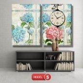 pembe-mavi çiçekli tablolar- saatli kanvas tablo MODEL 3 - 126x60 cm-5