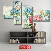 pembe-mavi çiçekli tablolar- saatli kanvas tablo MODEL 3 - 126x60 cm-6