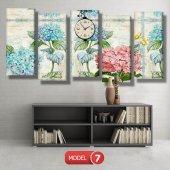 pembe-mavi çiçekli tablolar- saatli kanvas tablo MODEL 3 - 126x60 cm-7