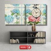 pembe-mavi çiçekli tablolar- saatli kanvas tablo MODEL 3 - 126x60 cm-8