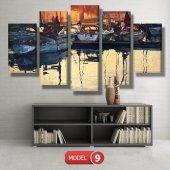 tekneler ve suda yansıması tablosu MODEL 11 - 126x60 cm-2