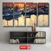 tekneler ve suda yansıması tablosu MODEL 11 - 126x60 cm-3