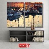 tekneler ve suda yansıması tablosu MODEL 11 - 126x60 cm-4