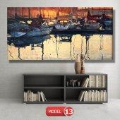 tekneler ve suda yansıması tablosu MODEL 11 - 126x60 cm-5