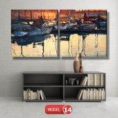 tekneler ve suda yansıması tablosu MODEL 11 - 126x60 cm-6