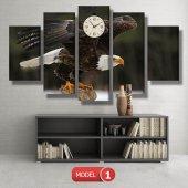 kartal -doğa tabloları- saatli kanvas tablo MODEL 3 - 126x60 cm-2
