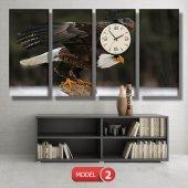 kartal -doğa tabloları- saatli kanvas tablo MODEL 3 - 126x60 cm-3