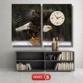 kartal -doğa tabloları- saatli kanvas tablo MODEL 3 - 126x60 cm-5