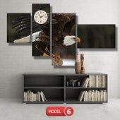 kartal -doğa tabloları- saatli kanvas tablo MODEL 3 - 126x60 cm-6