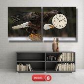 kartal -doğa tabloları- saatli kanvas tablo MODEL 3 - 126x60 cm-8
