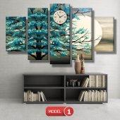 turkuaz ağaç tablosu- saatli kanvas tablo MODEL 3 - 126x60 cm-2