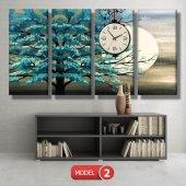turkuaz ağaç tablosu- saatli kanvas tablo MODEL 3 - 126x60 cm-3