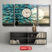 turkuaz ağaç tablosu- saatli kanvas tablo MODEL 3 - 126x60 cm-4