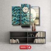 turkuaz ağaç tablosu- saatli kanvas tablo MODEL 3 - 126x60 cm-5