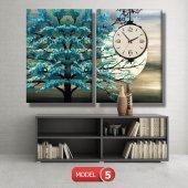 turkuaz ağaç tablosu- saatli kanvas tablo MODEL 3 - 126x60 cm-6
