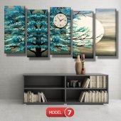 turkuaz ağaç tablosu- saatli kanvas tablo MODEL 3 - 126x60 cm-7