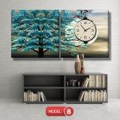 turkuaz ağaç tablosu- saatli kanvas tablo MODEL 3 - 126x60 cm-8