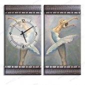 5 cm Kabartma Çerçeveli Saatli Tablo - Bale Yapan Kızlar Kanvas Tablo 2 Adet 70x40 cm