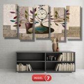 renkli yapraklı çiçek tabloları- saatli kanvas tablo MODEL 8 - 123x60 cm