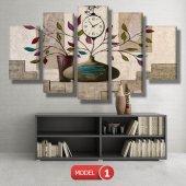 renkli yapraklı çiçek tabloları- saatli kanvas tablo MODEL 8 - 123x60 cm-2