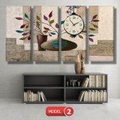 renkli yapraklı çiçek tabloları- saatli kanvas tablo MODEL 8 - 123x60 cm-3