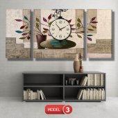 renkli yapraklı çiçek tabloları- saatli kanvas tablo MODEL 8 - 123x60 cm-4