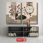 renkli yapraklı çiçek tabloları- saatli kanvas tablo MODEL 8 - 123x60 cm-6