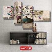 renkli yapraklı çiçek tabloları- saatli kanvas tablo MODEL 8 - 123x60 cm-7
