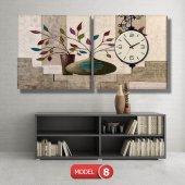 renkli yapraklı çiçek tabloları- saatli kanvas tablo MODEL 8 - 123x60 cm-8