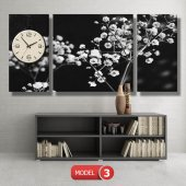 siyah-beyaz çiçekler tablosu- saatli kanvas tablo MODEL 1 - 162x75 cm