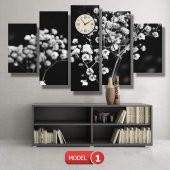 siyah-beyaz çiçekler tablosu- saatli kanvas tablo MODEL 1 - 162x75 cm-2