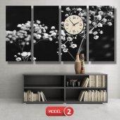 siyah-beyaz çiçekler tablosu- saatli kanvas tablo MODEL 1 - 162x75 cm-3