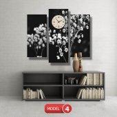 siyah-beyaz çiçekler tablosu- saatli kanvas tablo MODEL 1 - 162x75 cm-4