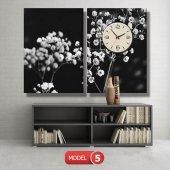 siyah-beyaz çiçekler tablosu- saatli kanvas tablo MODEL 1 - 162x75 cm-5