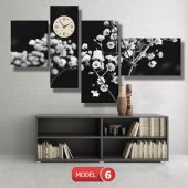 siyah-beyaz çiçekler tablosu- saatli kanvas tablo MODEL 1 - 162x75 cm-6