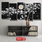 siyah-beyaz çiçekler tablosu- saatli kanvas tablo MODEL 1 - 162x75 cm-7