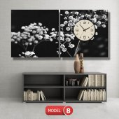 siyah-beyaz çiçekler tablosu- saatli kanvas tablo MODEL 1 - 162x75 cm-8