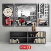 siyah-beyaz londra tablosu- saatli kanvas tablo MODEL 2 - 129x75 cm-4